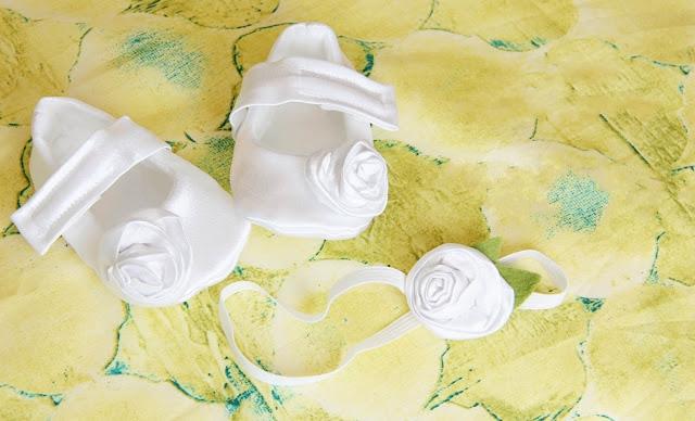 15. Крестильный набор - как сделать из ткани цветы