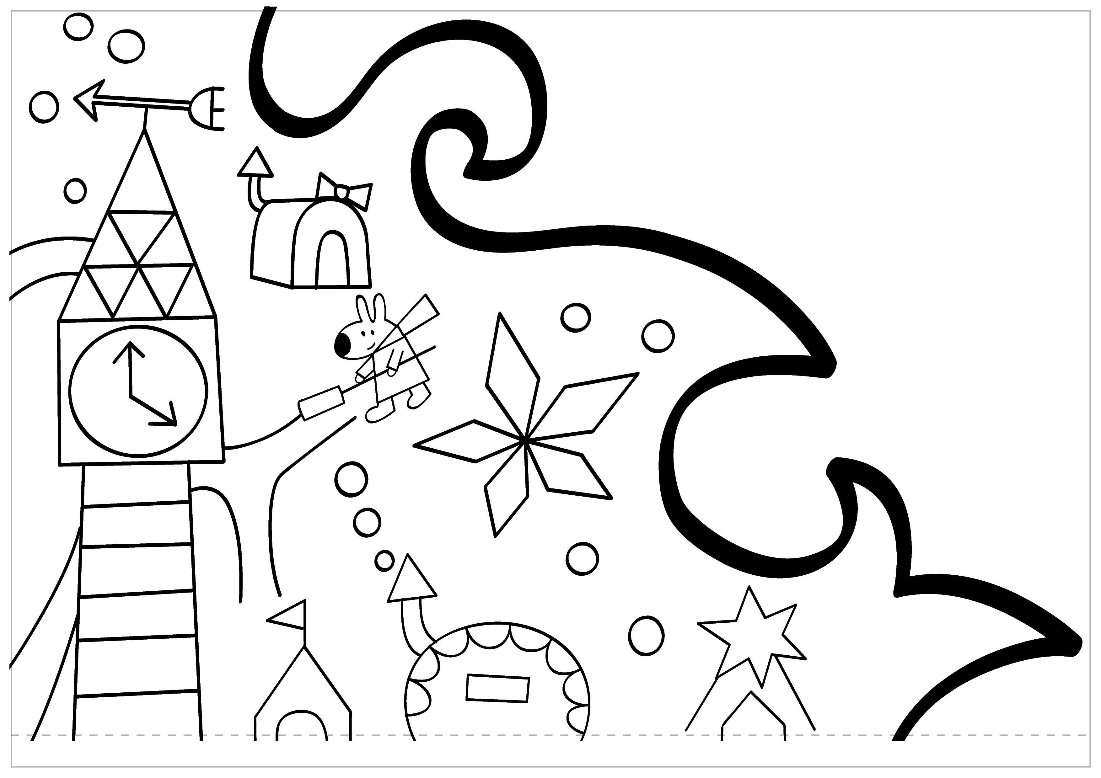 Оригинальные новогодние раскраски: пушистая елка