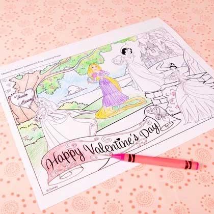 День Святого Валентина: раскраски принцессы Диснея