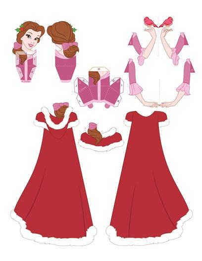 02. Объемные куклы для вырезания Принцессы Диснея Белль и Рождество