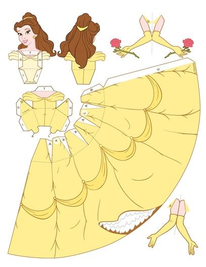 02. Объемные куклы для вырезания принцесса Белль