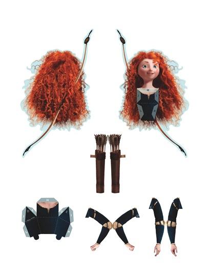 02. Объемные куклы для вырезания Принцессы Диснея Мерида