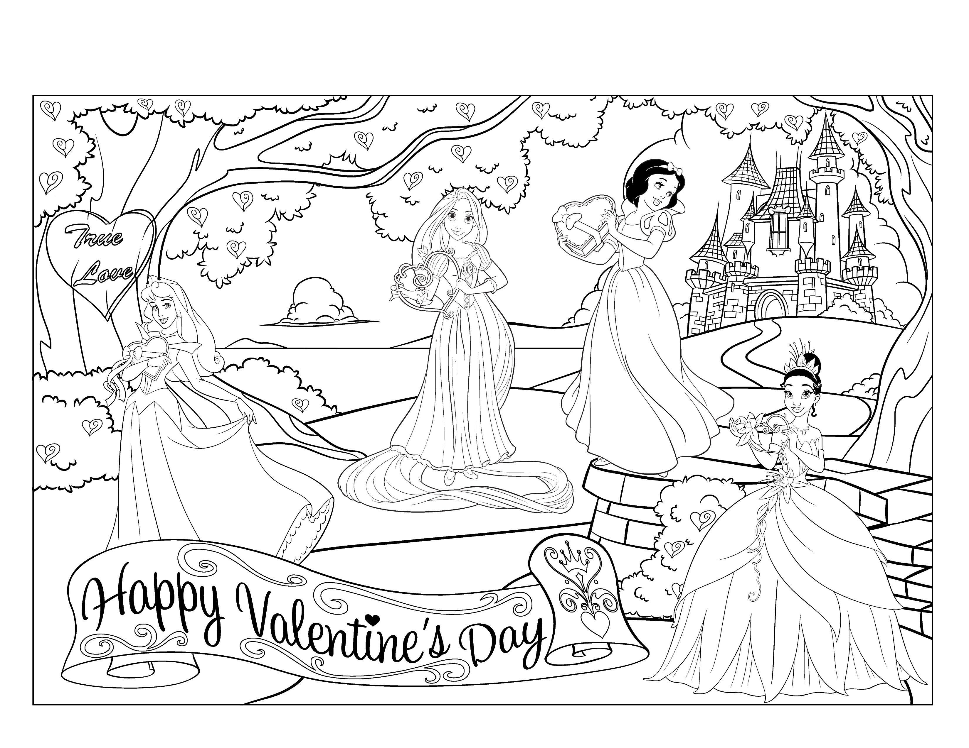день святого валентина раскраски принцессы диснея