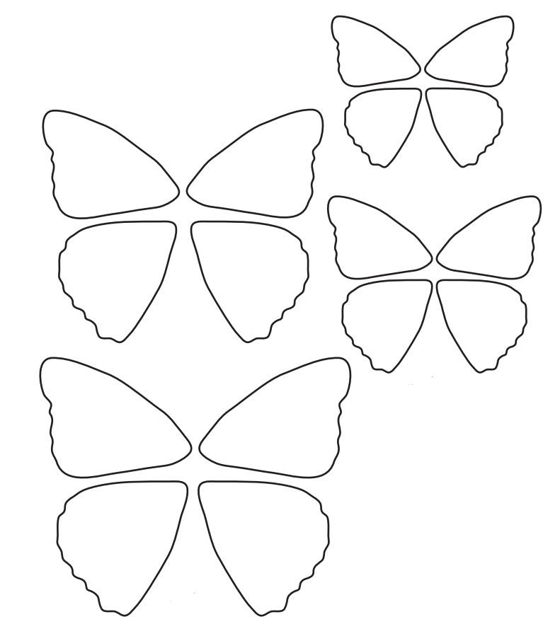 Днем рождения, шаблон бабочка для открытки